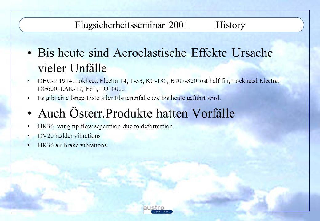 Flugsicherheitsseminar 2001History Bis heute sind Aeroelastische Effekte Ursache vieler Unfälle DHC-9 1914, Lokheed Electra 14, T-33, KC-135, B707-320 lost half fin, Lockheed Electra, DG600, LAK-17, F8L, LO100....