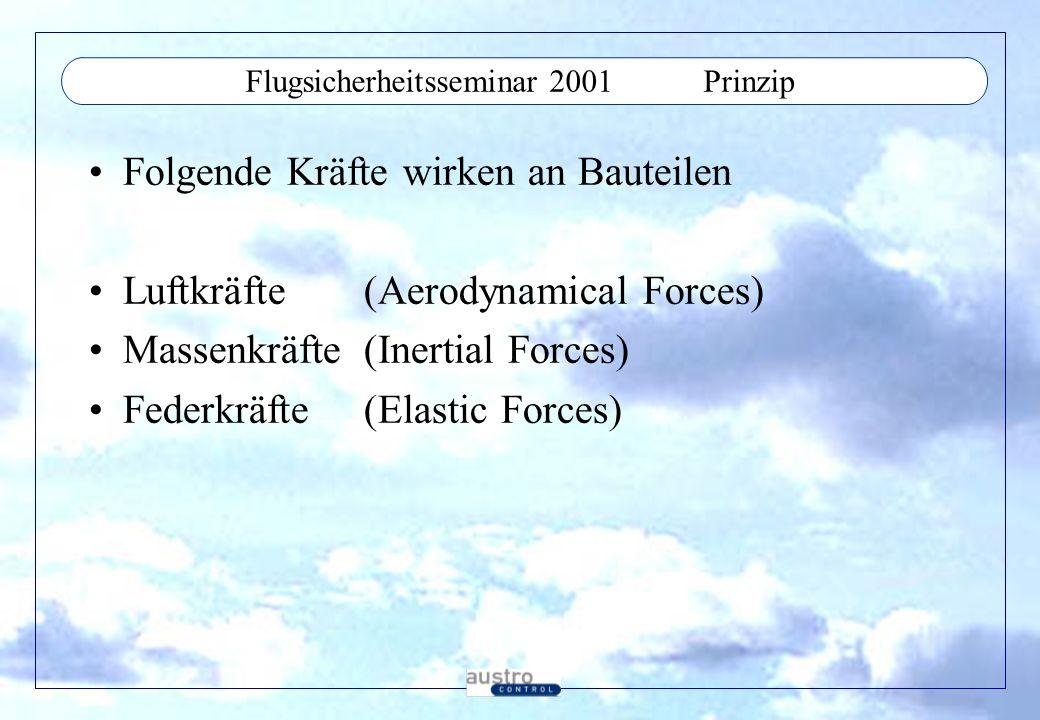 Flugsicherheitsseminar 2001Aeroelastic Phenomens Statisch: Divergence - Ruderwirksamkeit Control Surface Reversal - Ruderwirkungsumkehr Lift Effectiveness - Auftriebsverlust Dynamisch: Flutter Buffeting