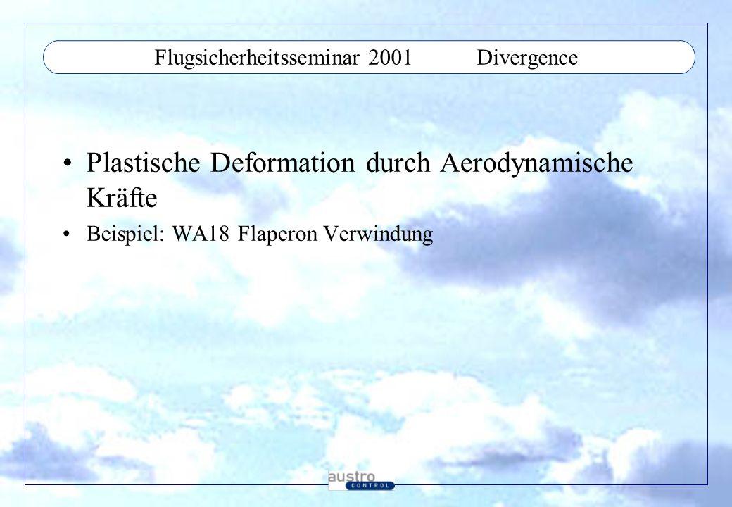 Flugsicherheitsseminar 2001Flight Tests Nur nach positiver Bodenanalyse Datenerfassungseinrichtung erforderlich Aktivierung extern erforderlich Step by Step approach Critical flight tests, structural failure will occure in less than 1 second !!!