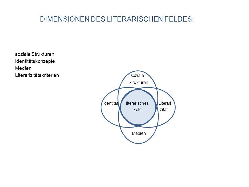soziale Strukturen Identitätskonzepte Medien Literarizitätskriterien soziale Strukturen Identität literarisches Literari-- Feld zität Medien DIMENSIONEN DES LITERARISCHEN FELDES: