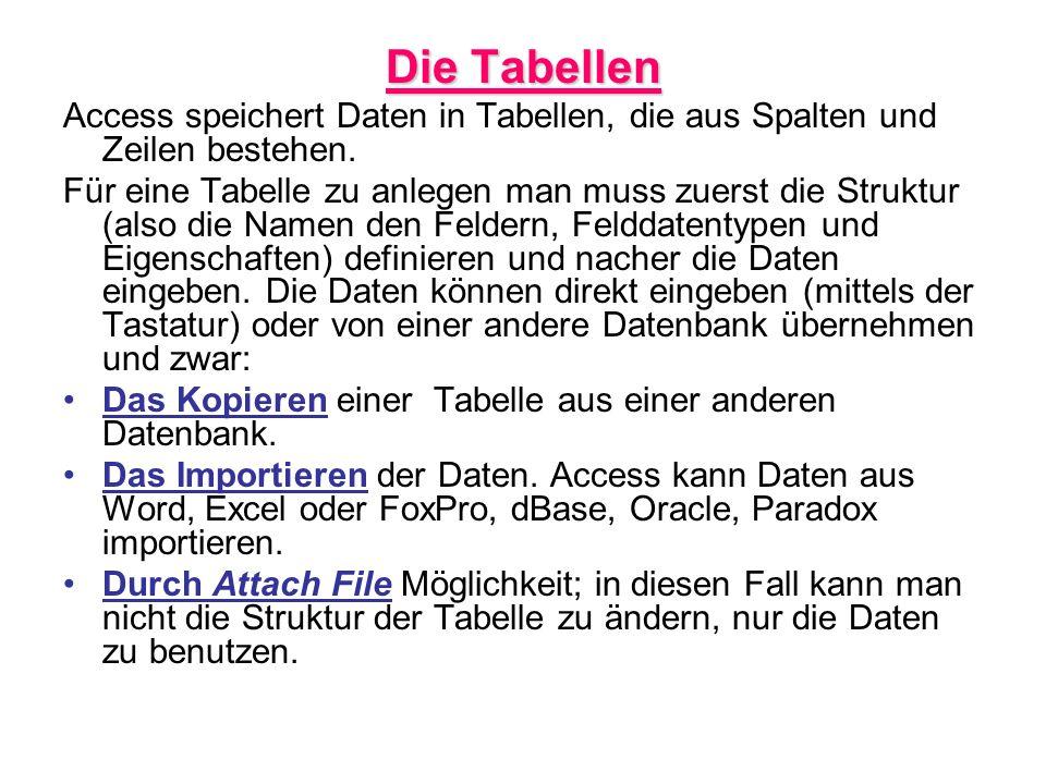 Die Tabellen Access speichert Daten in Tabellen, die aus Spalten und Zeilen bestehen.