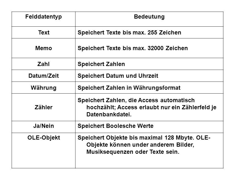 FelddatentypBedeutung TextSpeichert Texte bis max.