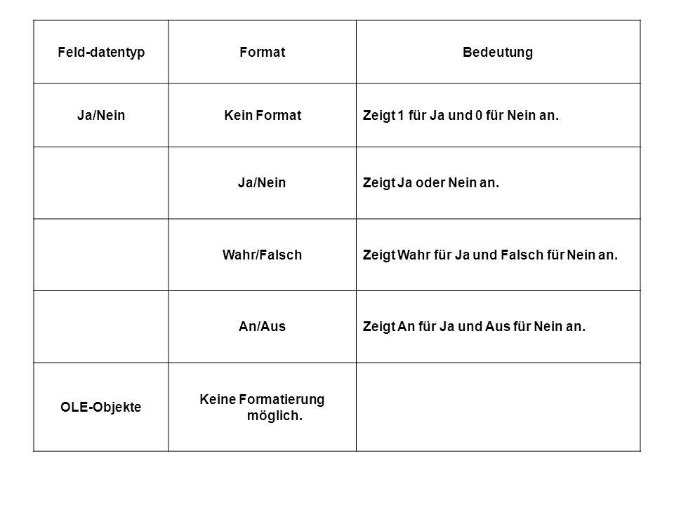Feld-datentypFormatBedeutung Ja/NeinKein FormatZeigt 1 für Ja und 0 für Nein an.