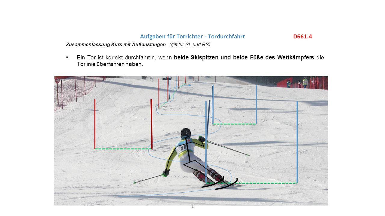 D661.4 Zusammenfassung Kurs mit Außenstangen (gilt für SL und RS) Ein Tor ist korrekt durchfahren, wenn beide Skispitzen und beide Füße des Wettkämpfers die Torlinie überfahren haben.