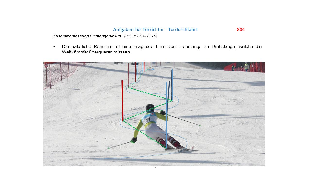 2 804 Zusammenfassung Einstangen-Kurs (gilt für SL und RS) Die natürliche Rennlinie ist eine imaginäre Linie von Drehstange zu Drehstange, welche die Wettkämpfer überqueren müssen.