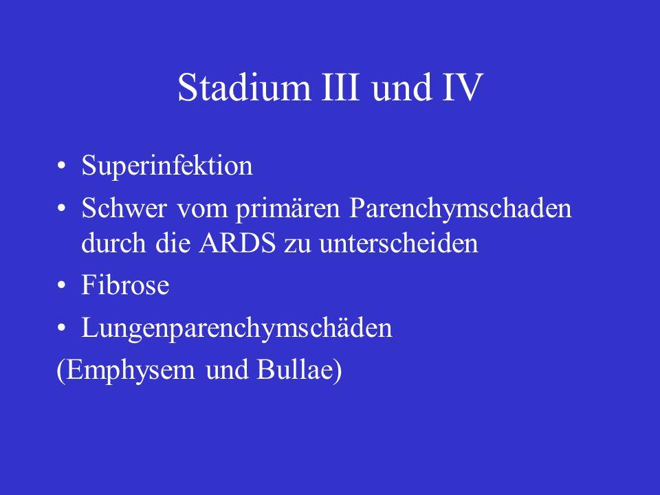Stadium III und IV Superinfektion Schwer vom primären Parenchymschaden durch die ARDS zu unterscheiden Fibrose Lungenparenchymschäden (Emphysem und Bu