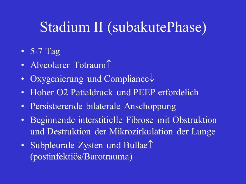 Stadium II (subakutePhase) 5-7 Tag Alveolarer Totraum Oxygenierung und Compliance Hoher O2 Patialdruck und PEEP erfordelich Persistierende bilaterale