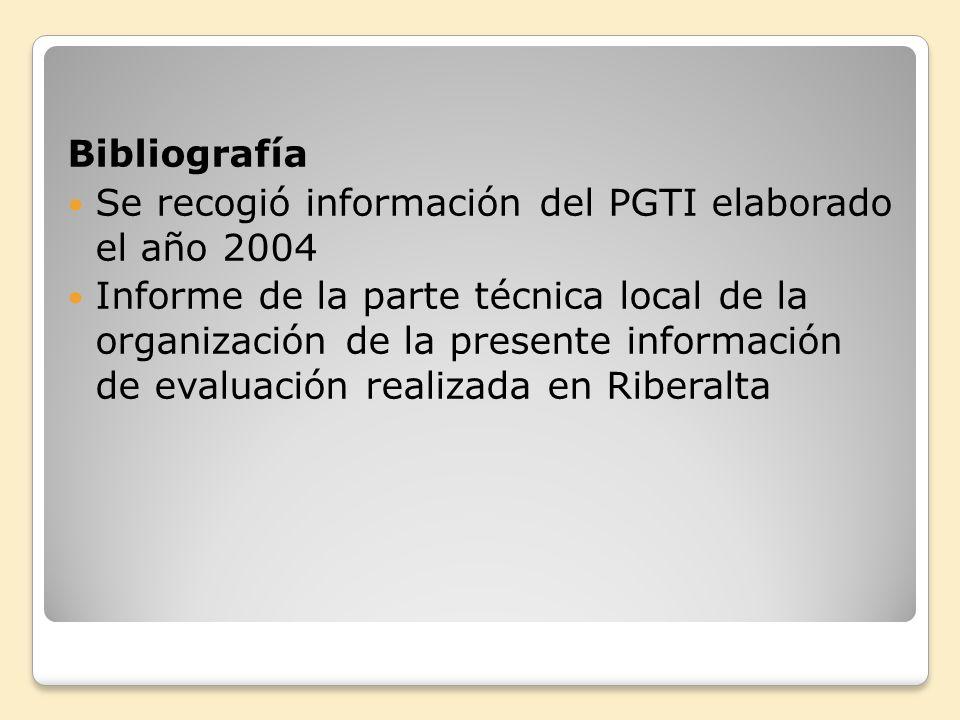 Bibliografía Se recogió información del PGTI elaborado el año 2004 Informe de la parte técnica local de la organización de la presente información de