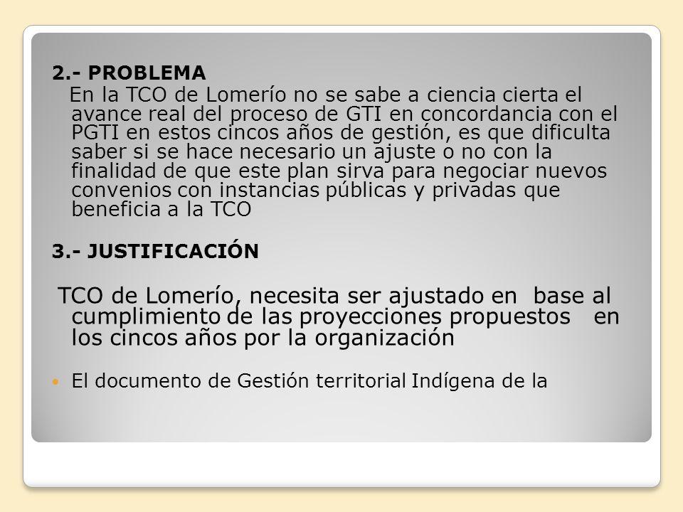 2.- PROBLEMA En la TCO de Lomerío no se sabe a ciencia cierta el avance real del proceso de GTI en concordancia con el PGTI en estos cincos años de ge