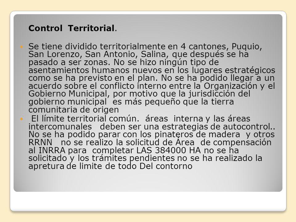 Control Territorial. Se tiene dividido territorialmente en 4 cantones, Puquio, San Lorenzo, San Antonio, Salina, que después se ha pasado a ser zonas.
