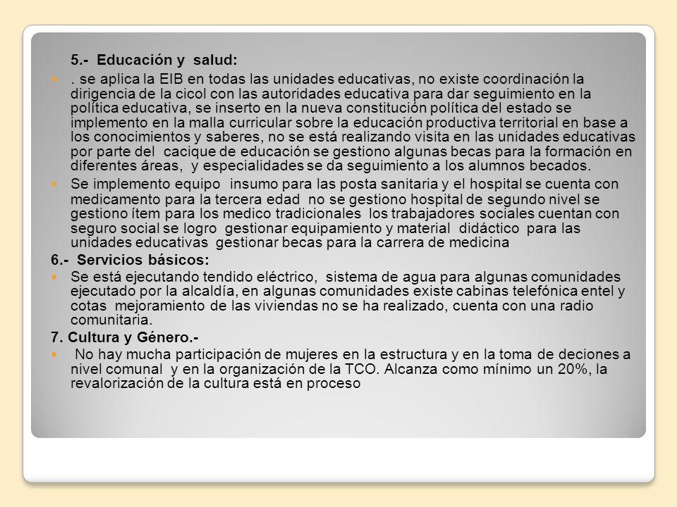 5.- Educación y salud:. se aplica la EIB en todas las unidades educativas, no existe coordinación la dirigencia de la cicol con las autoridades educat