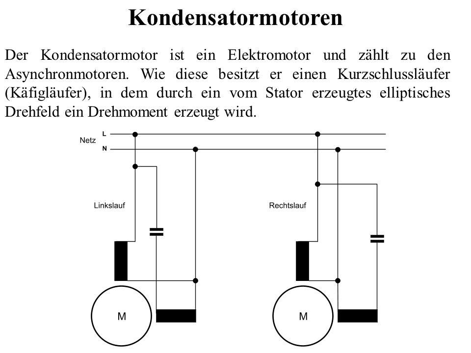 Kondensatormotoren Der Kondensatormotor ist ein Elektromotor und zählt zu den Asynchronmotoren. Wie diese besitzt er einen Kurzschlussläufer (Käfigläu