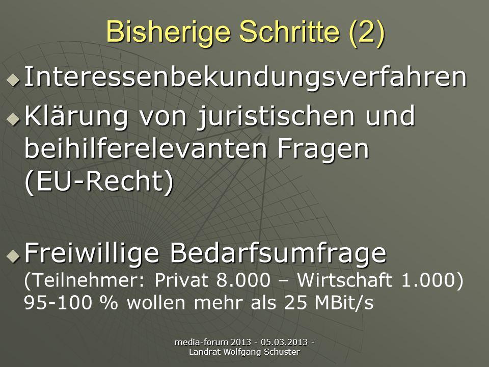 media-forum 2013 - 05.03.2013 - Landrat Wolfgang Schuster Bisherige Schritte (2) Interessenbekundungsverfahren Interessenbekundungsverfahren Klärung von juristischen und beihilferelevanten Fragen (EU-Recht) Klärung von juristischen und beihilferelevanten Fragen (EU-Recht) Freiwillige Bedarfsumfrage Freiwillige Bedarfsumfrage (Teilnehmer: Privat 8.000 – Wirtschaft 1.000) 95-100 % wollen mehr als 25 MBit/s