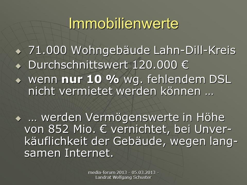 media-forum 2013 - 05.03.2013 - Landrat Wolfgang Schuster Immobilienwerte 71.000 Wohngebäude Lahn-Dill-Kreis 71.000 Wohngebäude Lahn-Dill-Kreis Durchschnittswert 120.000 Durchschnittswert 120.000 wenn nur 10 % wg.