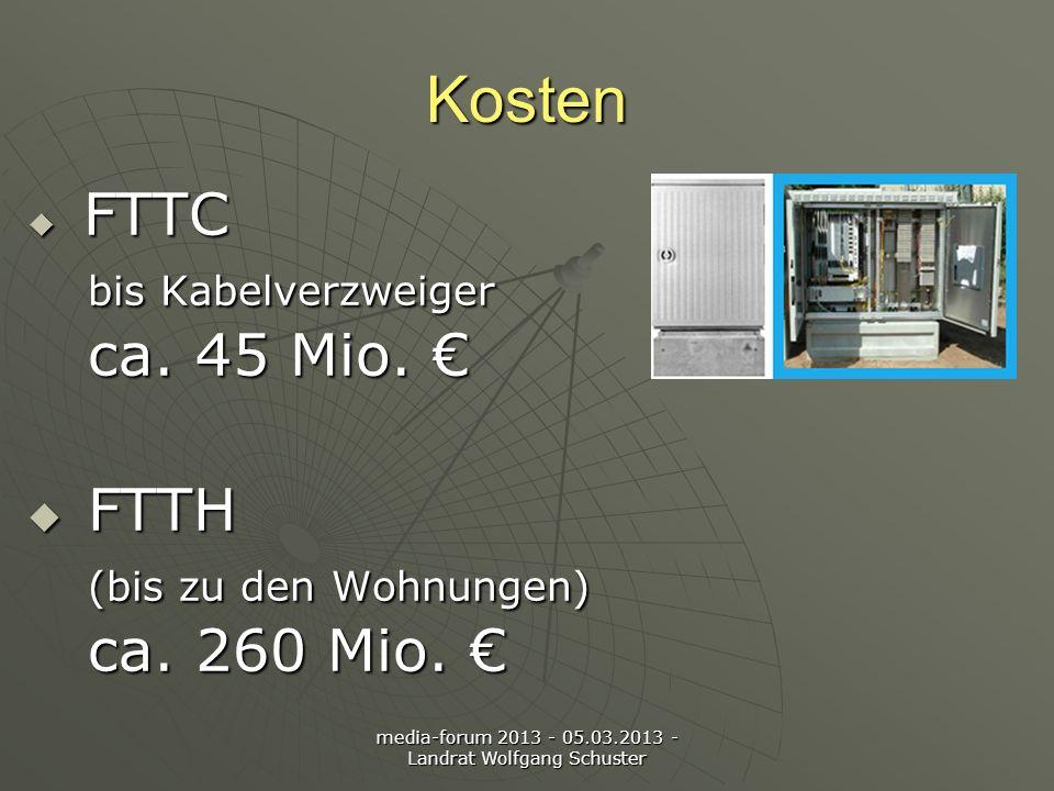 media-forum 2013 - 05.03.2013 - Landrat Wolfgang Schuster Kosten FTTC bis Kabelverzweiger ca.