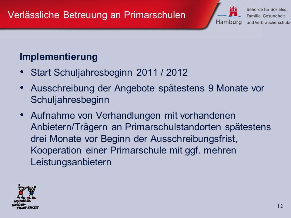 12 Verlässliche Betreuung an Primarschulen Implementierung Start Schuljahresbeginn 2011 / 2012 Ausschreibung der Angebote spätestens 9 Monate vor Schu