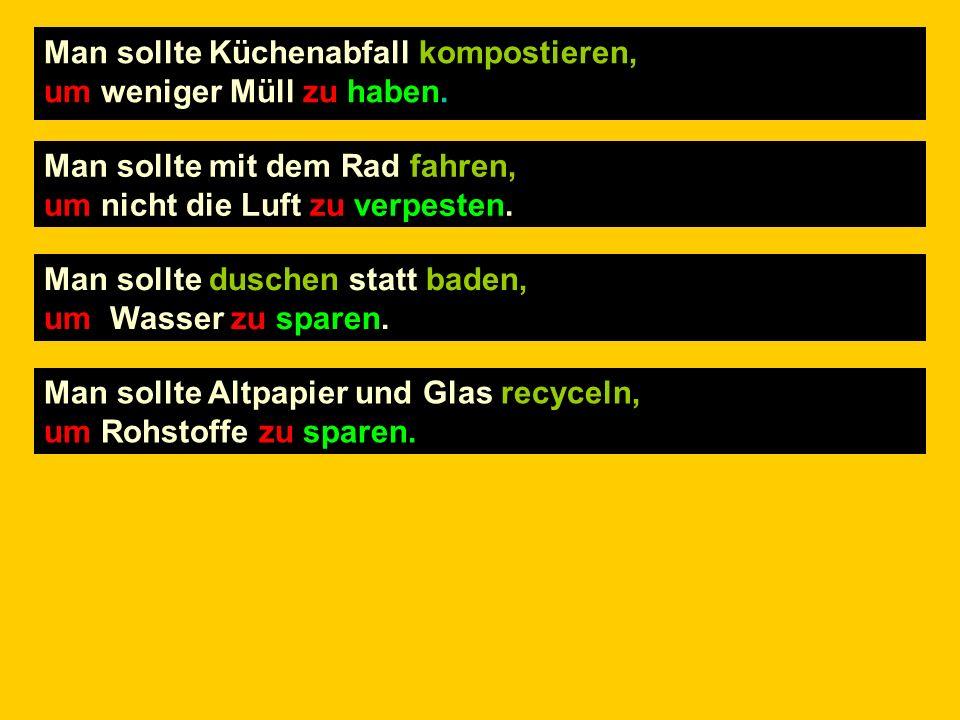 Schreibe die 4 Sätze auf Deutsch!
