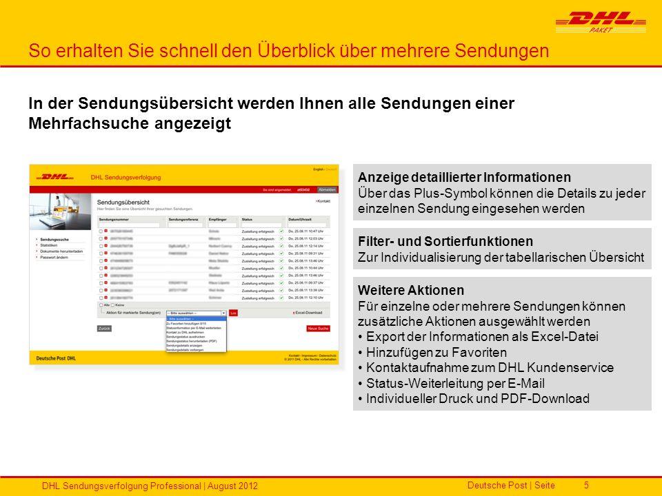 Deutsche Post | Seite DHL Sendungsverfolgung Professional | August 2012 5 So erhalten Sie schnell den Überblick über mehrere Sendungen In der Sendungs