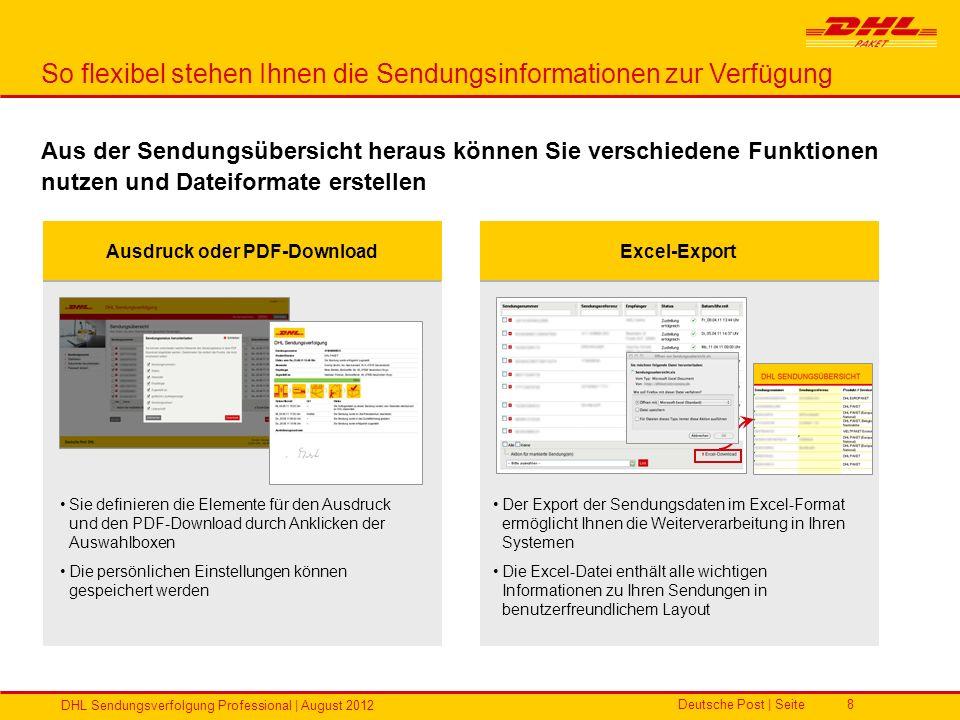 Deutsche Post | Seite DHL Sendungsverfolgung Professional | August 2012 8 So flexibel stehen Ihnen die Sendungsinformationen zur Verfügung Aus der Sen