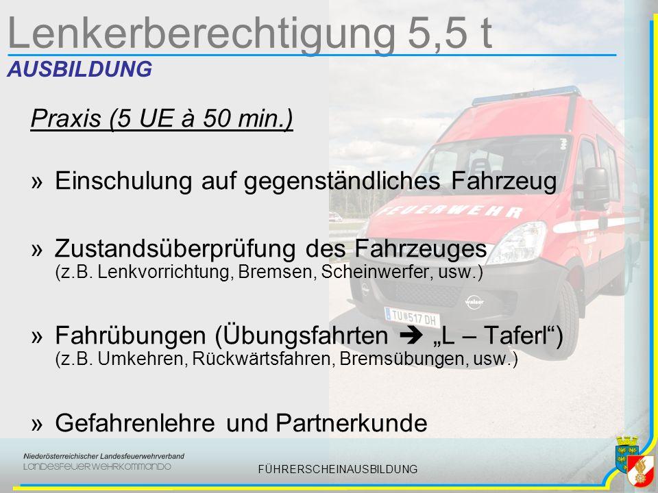 FÜHRERSCHEINAUSBILDUNG Lenkerberechtigung 5,5 t AUSBILDUNG Praxis (5 UE à 50 min.) »Einschulung auf gegenständliches Fahrzeug »Zustandsüberprüfung des Fahrzeuges (z.B.