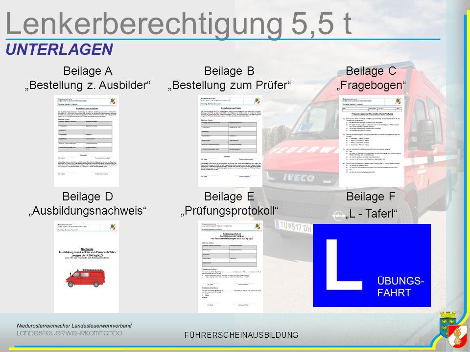 FÜHRERSCHEINAUSBILDUNG Lenkerberechtigung 5,5 t UNTERLAGEN Beilage A Bestellung z.