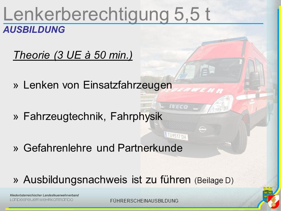 FÜHRERSCHEINAUSBILDUNG Lenkerberechtigung 5,5 t AUSBILDUNG Theorie (3 UE à 50 min.) »Lenken von Einsatzfahrzeugen »Fahrzeugtechnik, Fahrphysik »Gefahrenlehre und Partnerkunde »Ausbildungsnachweis ist zu führen (Beilage D)