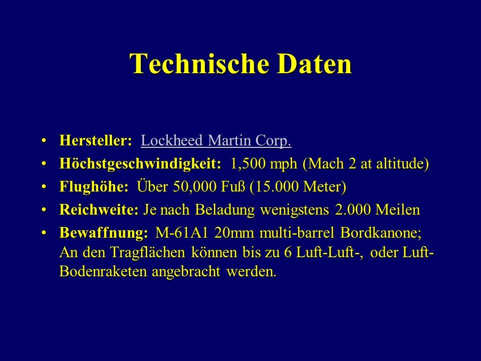 Technische Daten Hersteller: Lockheed Martin Corp.Hersteller: Lockheed Martin Corp.Lockheed Martin Corp.Lockheed Martin Corp.