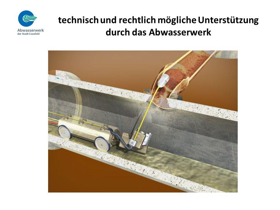technisch und rechtlich mögliche Unterstützung durch das Abwasserwerk