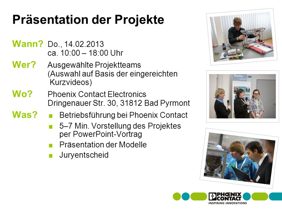 Masterversion 13 Präsentation der Projekte Wann. Do., 14.02.2013 ca.