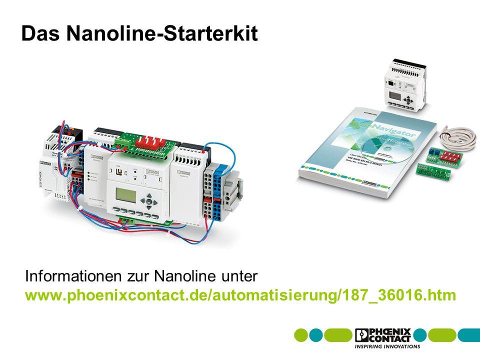 Masterversion 13 Das Nanoline-Starterkit Informationen zur Nanoline unter www.phoenixcontact.de/automatisierung/187_36016.htm