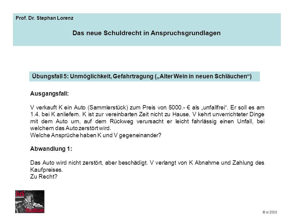 Prof. Dr. Stephan Lorenz Das neue Schuldrecht in Anspruchsgrundlagen Ausgangsfall: V verkauft K ein Auto (Sammlerstück) zum Preis von 5000.- als unfal