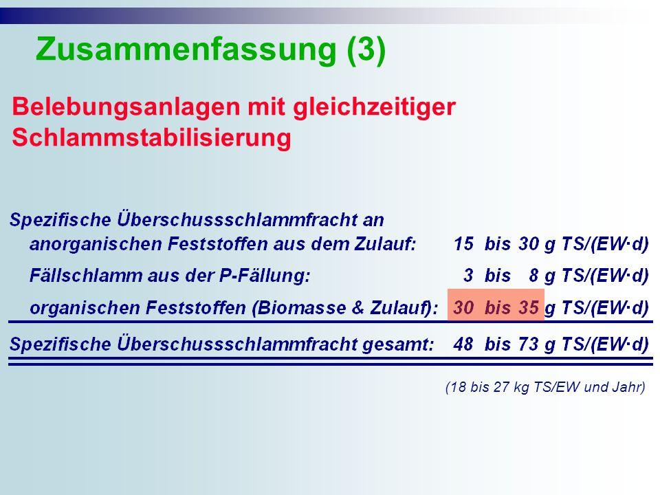Belebungsanlagen mit gleichzeitiger Schlammstabilisierung Zusammenfassung (3) (18 bis 27 kg TS/EW und Jahr)