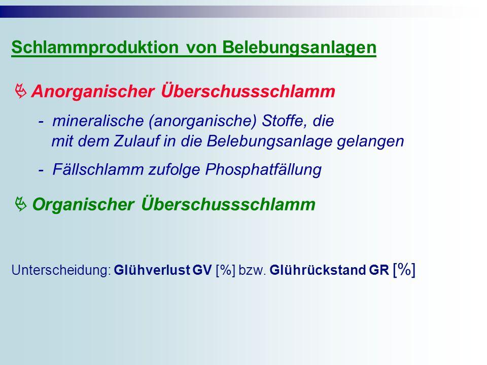 Schlammproduktion von Belebungsanlagen Anorganischer Überschussschlamm - mineralische (anorganische) Stoffe, die mit dem Zulauf in die Belebungsanlage gelangen - Fällschlamm zufolge Phosphatfällung Organischer Überschussschlamm Unterscheidung: Glühverlust GV [%] bzw.