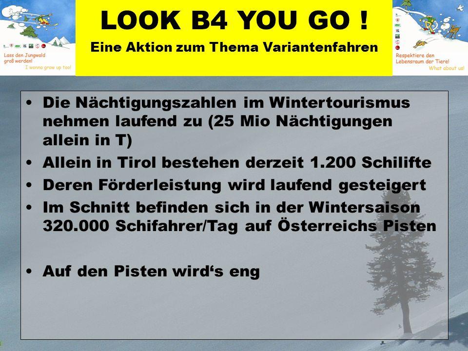 Die Nächtigungszahlen im Wintertourismus nehmen laufend zu (25 Mio Nächtigungen allein in T) Allein in Tirol bestehen derzeit 1.200 Schilifte Deren Förderleistung wird laufend gesteigert Im Schnitt befinden sich in der Wintersaison 320.000 Schifahrer/Tag auf Österreichs Pisten Auf den Pisten wirds eng