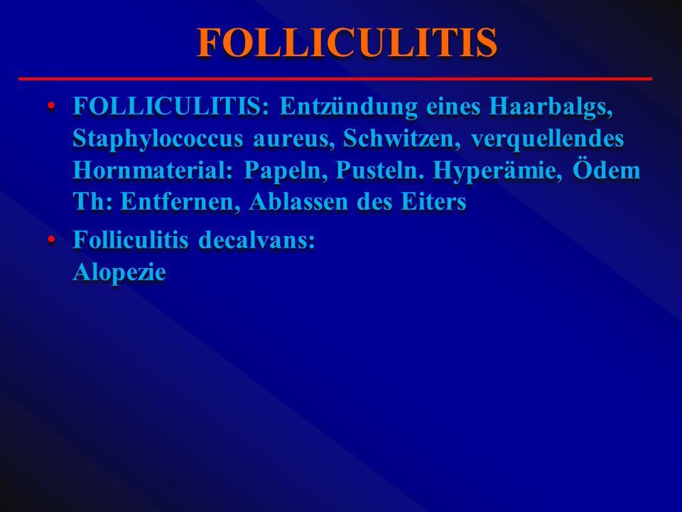 FOLLICULITIS: Entzündung eines Haarbalgs, Staphylococcus aureus, Schwitzen, verquellendes Hornmaterial: Papeln, Pusteln. Hyperämie, Ödem Th: Entfernen