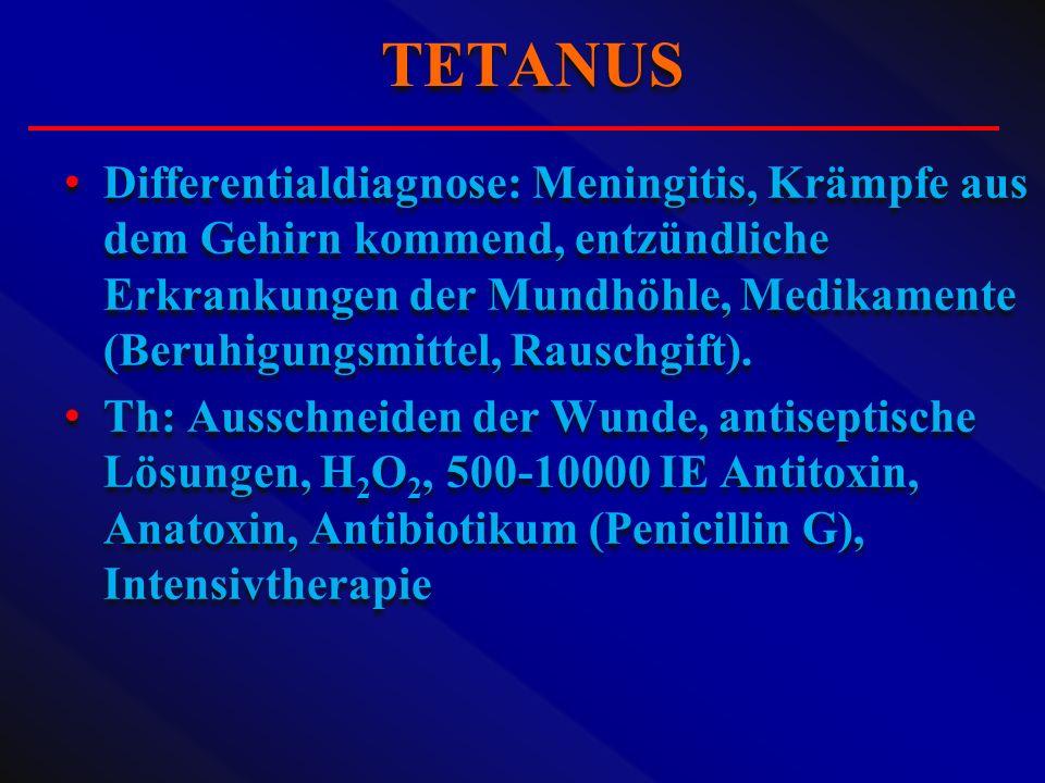 Differentialdiagnose: Meningitis, Krämpfe aus dem Gehirn kommend, entzündliche Erkrankungen der Mundhöhle, Medikamente (Beruhigungsmittel, Rauschgift)