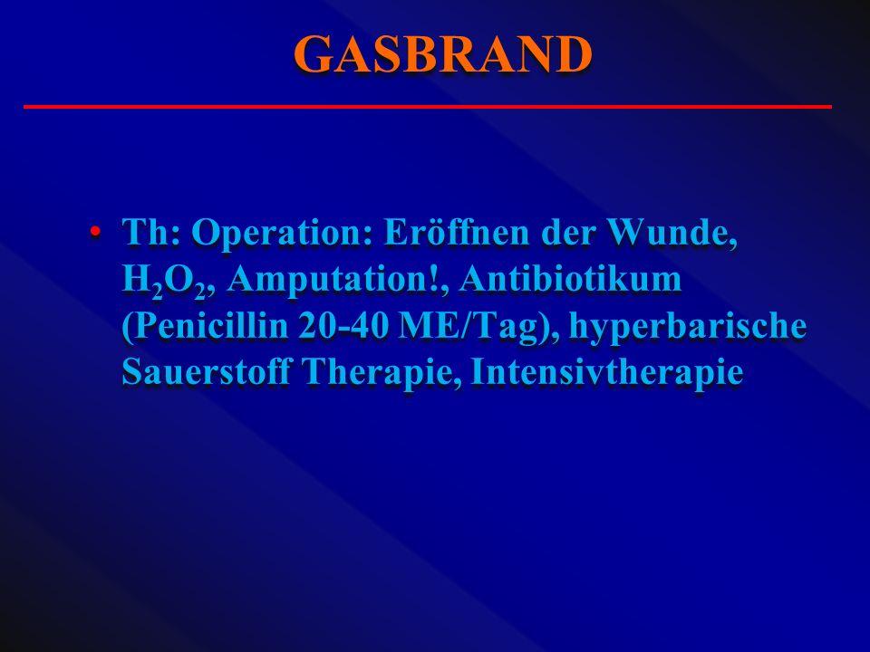 Th: Operation: Eröffnen der Wunde, H 2 O 2, Amputation!, Antibiotikum (Penicillin 20-40 ME/Tag), hyperbarische Sauerstoff Therapie, Intensivtherapie G