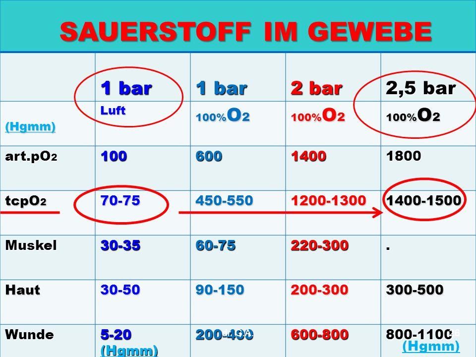 1 bar 2 bar 2,5 bar (Hgmm)Luft 100% O 2 art.pO 2 10060014001800 tcpO 2 70-75450-5501200-13001400-1500 Muskel30-3560-75220-300. Haut30-5090-150200-3003