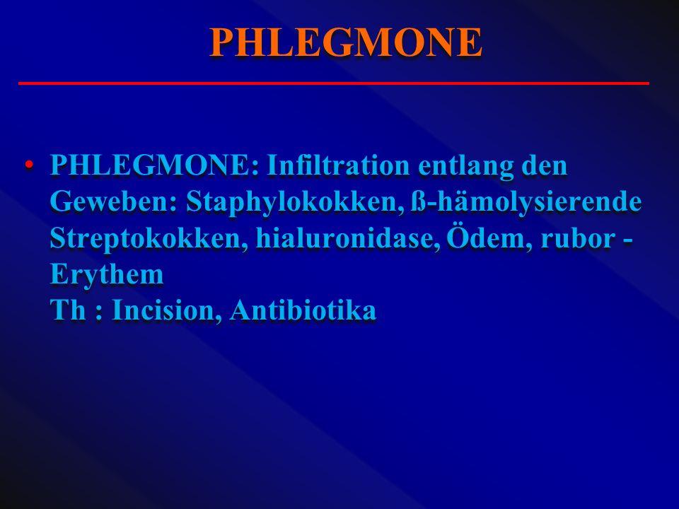 PHLEGMONE: Infiltration entlang den Geweben: Staphylokokken, ß-hämolysierende Streptokokken, hialuronidase, Ödem, rubor - Erythem Th : Incision, Antib