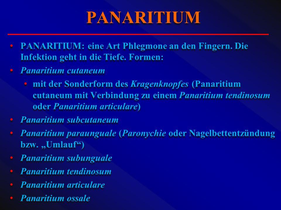 PANARITIUM: eine Art Phlegmone an den Fingern. Die Infektion geht in die Tiefe. Formen: Panaritium cutaneum mit der Sonderform des Kragenknopfes (Pana