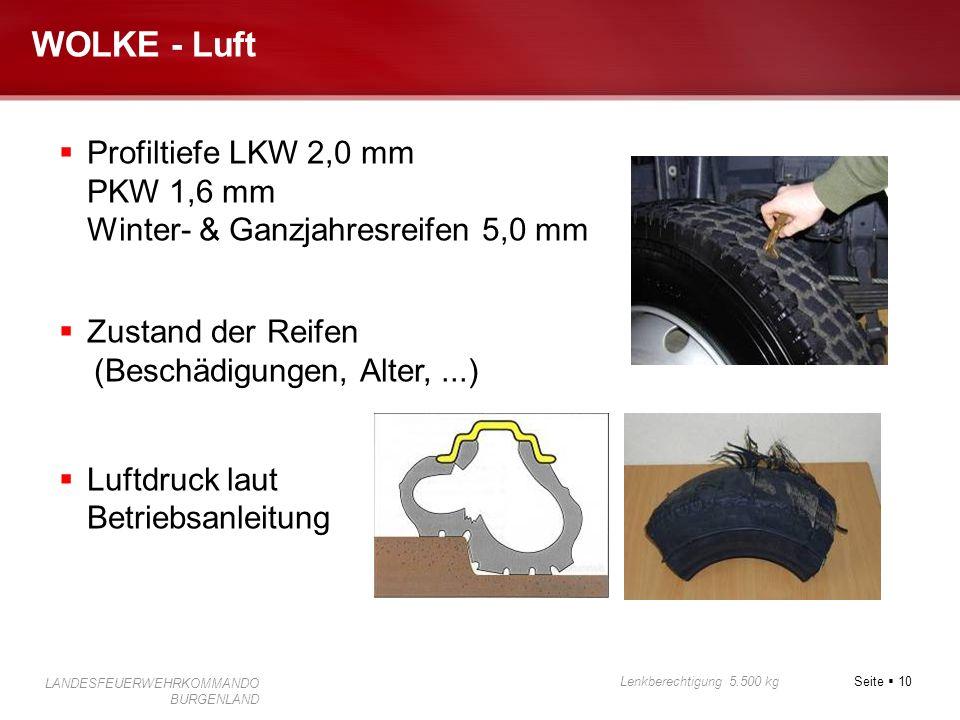 Seite 10 Lenkberechtigung 5.500 kg LANDESFEUERWEHRKOMMANDO BURGENLAND WOLKE - Luft Profiltiefe LKW 2,0 mm PKW 1,6 mm Winter- & Ganzjahresreifen 5,0 mm
