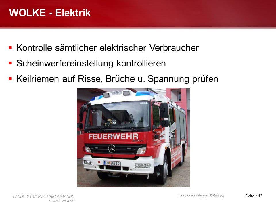 Seite 13 Lenkberechtigung 5.500 kg LANDESFEUERWEHRKOMMANDO BURGENLAND WOLKE - Elektrik Kontrolle sämtlicher elektrischer Verbraucher Scheinwerfereinst