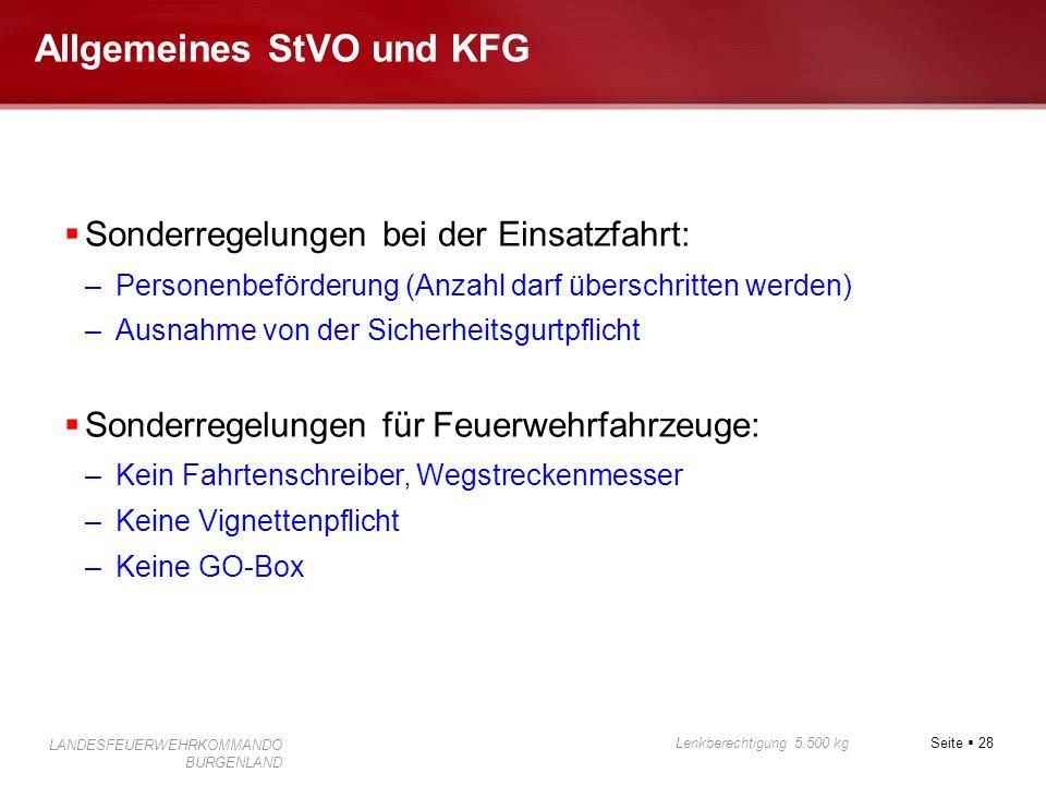 Seite 28 Lenkberechtigung 5.500 kg LANDESFEUERWEHRKOMMANDO BURGENLAND Allgemeines StVO und KFG Sonderregelungen bei der Einsatzfahrt: –Personenbeförde