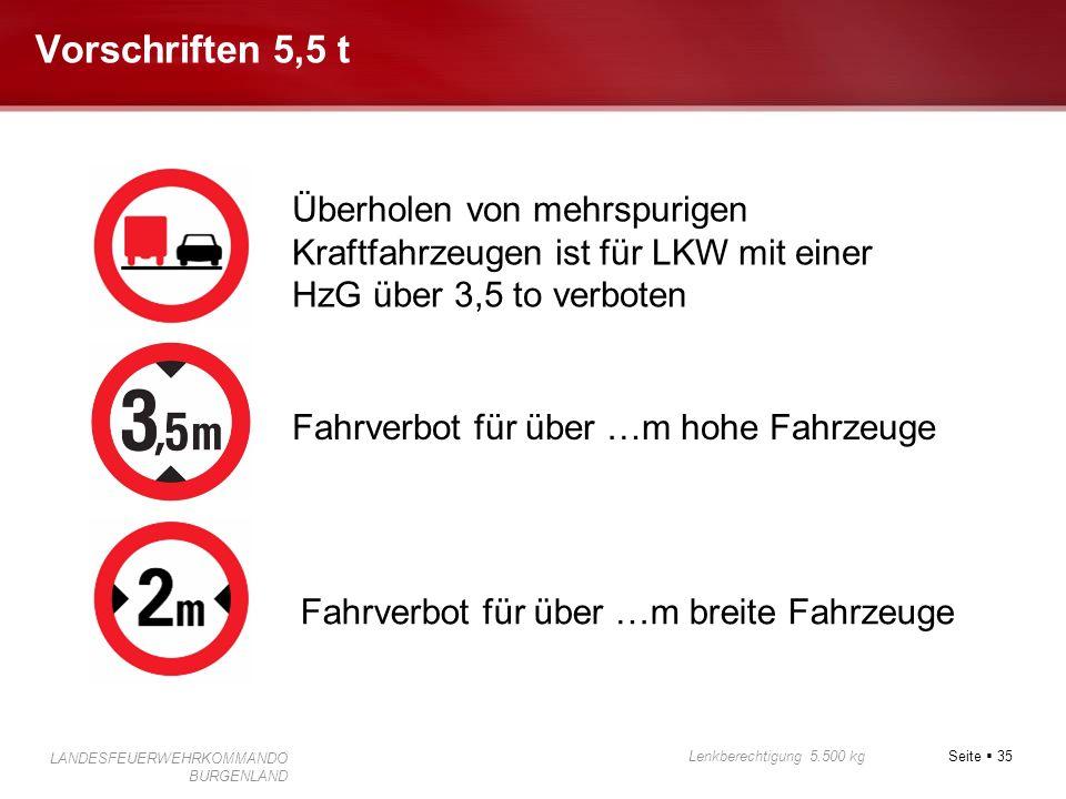 Seite 35 Lenkberechtigung 5.500 kg LANDESFEUERWEHRKOMMANDO BURGENLAND Vorschriften 5,5 t Fahrverbot für über …m hohe Fahrzeuge Fahrverbot für über …m