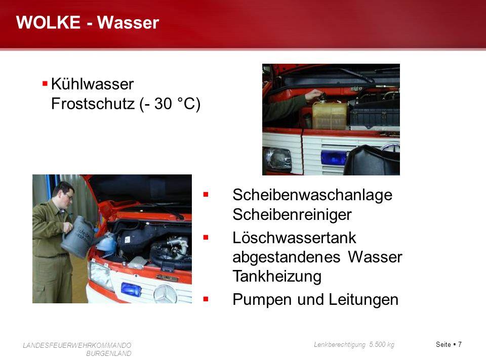 Seite 7 Lenkberechtigung 5.500 kg LANDESFEUERWEHRKOMMANDO BURGENLAND WOLKE - Wasser Kühlwasser Frostschutz (- 30 °C) Scheibenwaschanlage Scheibenreini