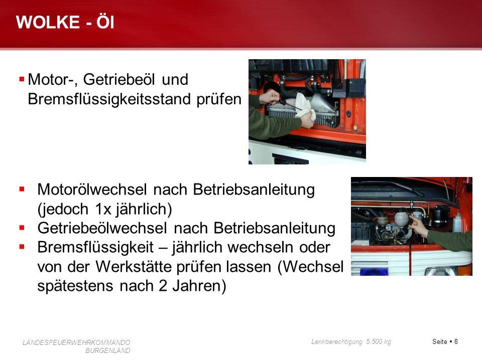 Seite 8 Lenkberechtigung 5.500 kg LANDESFEUERWEHRKOMMANDO BURGENLAND WOLKE - Öl Motor-, Getriebeöl und Bremsflüssigkeitsstand prüfen Motorölwechsel na