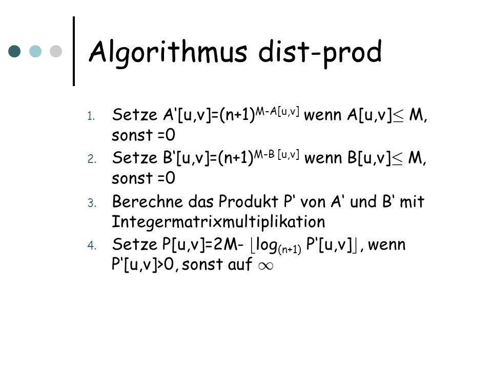 Algorithmus dist-prod 1. Setze A[u,v]=(n+1) M-A[u,v] wenn A[u,v] · M, sonst =0 2.