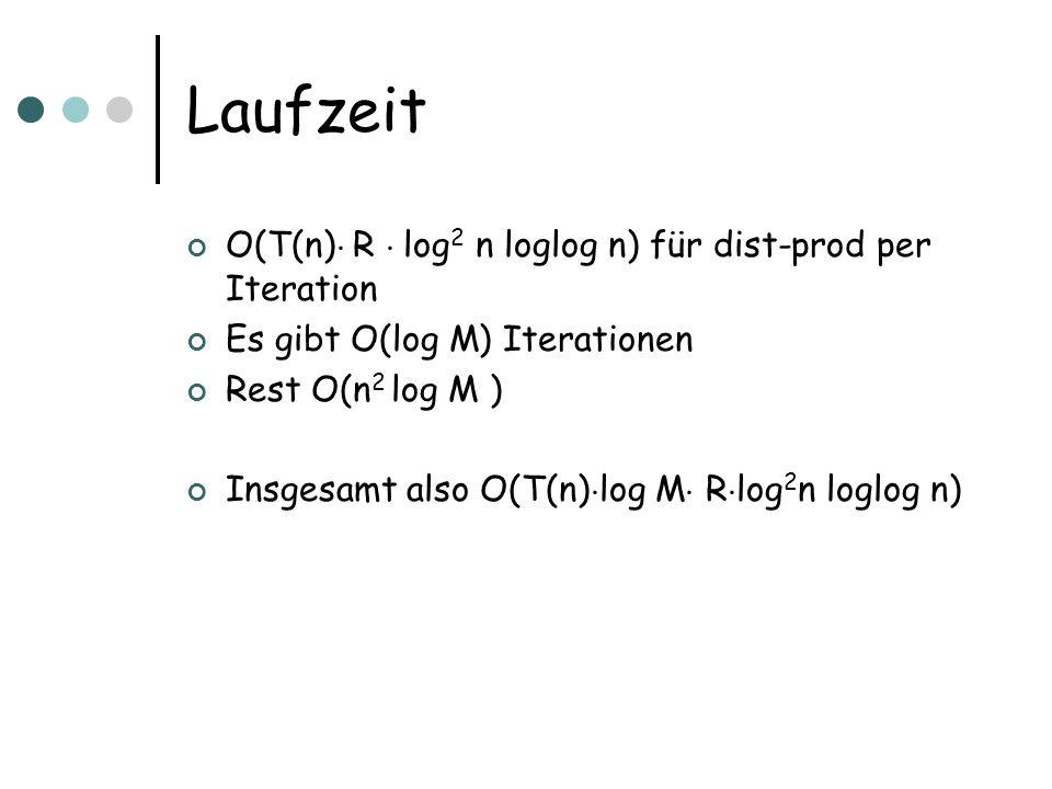 Laufzeit O(T(n) ¢ R ¢ log 2 n loglog n) für dist-prod per Iteration Es gibt O(log M) Iterationen Rest O(n 2 log M ) Insgesamt also O(T(n) ¢ log M ¢ R ¢ log 2 n loglog n)