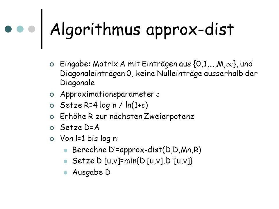 Algorithmus approx-dist Eingabe: Matrix A mit Einträgen aus {0,1,…,M, 1 }, und Diagonaleinträgen 0, keine Nulleinträge ausserhalb der Diagonale Approximationsparameter Setze R=4 log n / ln(1+ ) Erhöhe R zur nächsten Zweierpotenz Setze D=A Von l=1 bis log n: Berechne D=approx-dist(D,D,Mn,R) Setze D [u,v]=min{D [u,v],D [u,v]} Ausgabe D