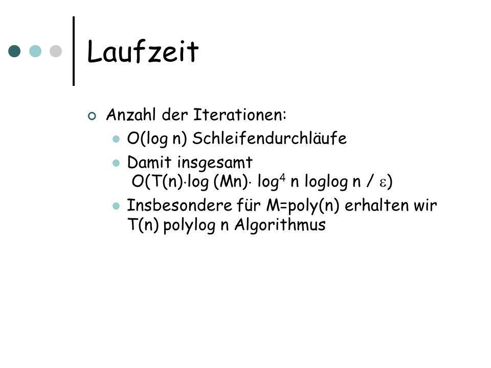 Laufzeit Anzahl der Iterationen: O(log n) Schleifendurchläufe Damit insgesamt O(T(n) ¢ log (Mn) ¢ log 4 n loglog n / ) Insbesondere für M=poly(n) erhalten wir T(n) polylog n Algorithmus